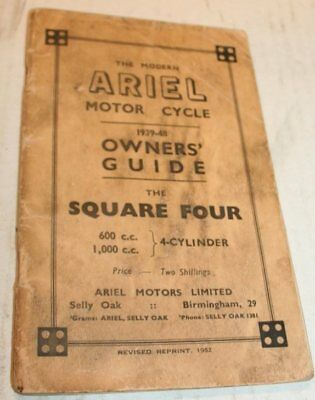 ARIEL Square Four and 600cc + 1000cc Owner's guide 1939-1948