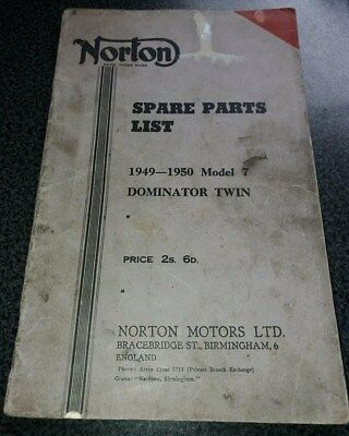 NORTON Model 7 Dominator Twin  1949-1950 spare parts list