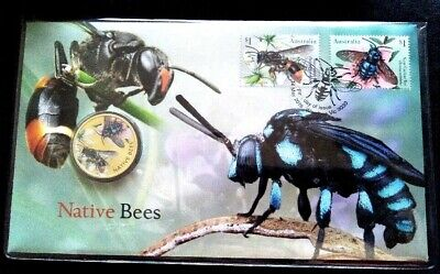 2019  Perth Mint  Native Bees PNC with Tuvalu $1 coloured coin and FDC