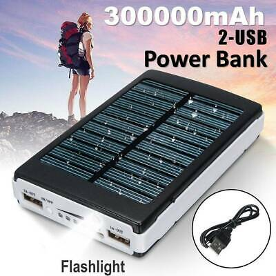 300000MAH Waterproof Solar slim Power Bank 2USB Portable charger for all mobile