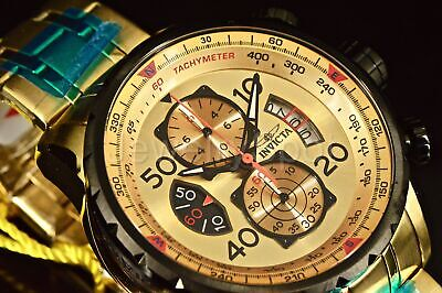 17205 Invicta 48MM Aviator Chronograph Split Case Gold Tone Dial SS Band Watch
