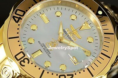 Invicta Grand Diver Mother-Of-Pearl Dial Automatic w/24 Jewels ALL GOLD Watch