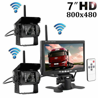 "2x Wireless IR Rear View Backup Camera System + 7"" Monitor For Truck Car Bus"