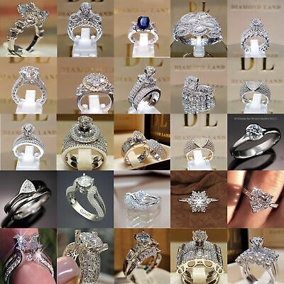 Fashion 925 Silver Jewelry Sapphire Cubic Zirconia Women Wedding Ring Size 6-10