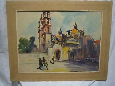 VINTAGE 60s-70s MEXICAN VILLAGE WATER COLOR PAINTING 24 X 18 MID CENTURY MODERN