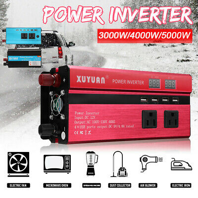 3000/4000/5000W Car Power Inverter 12/24V To 110V/220V USB Sine Wave