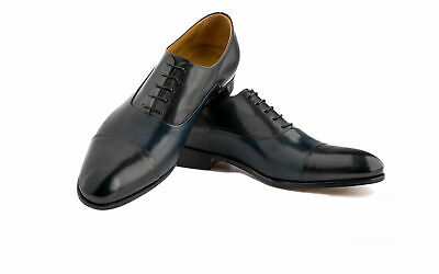 Mens Handmade Shoes Cap Toe Oxford Dark Grey Antique & Blue Leather Formal Boots