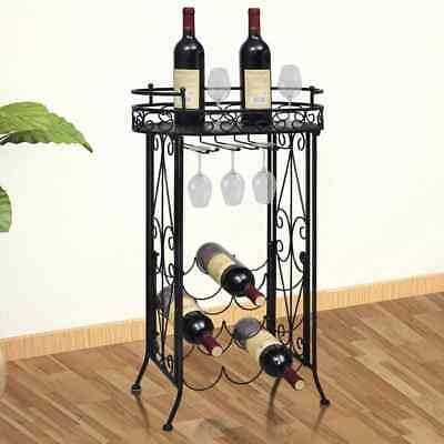 Wine Rack With Glass Holder For 9 Bottles Metal Iron Bottle Stand  Home Storage