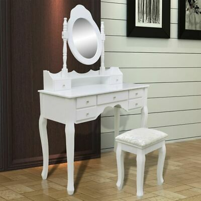 Modern Dressing Table White XXL Mirror Stool Drawer Jewellery Cabinet Makeup AUS