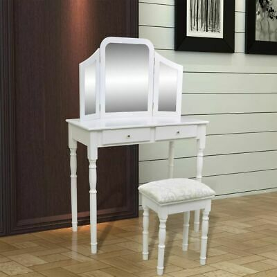 Modern Dressing Table White 3 Mirror Jewellery Cabinet Stool Drawer Organiser