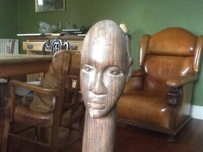 African hardwood carved walking stick with African head handle