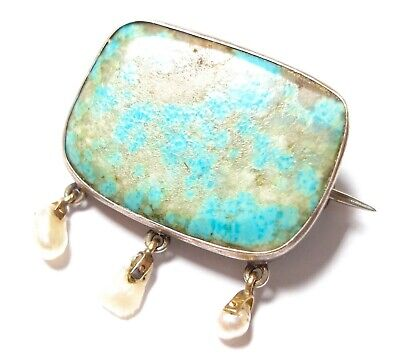 Beautiful Antique Victorian Or Edwardian Silver , Gold & Turquoise Brooch