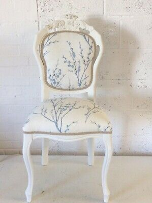 French Louis Style Dining Chair Laura Ashley Pussy Willow Sea spray Fabric