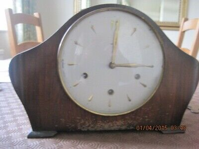Vintage mantel clock antique smiths Enfiel chiming wood with key
