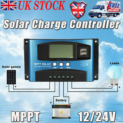 100A MPPT Solar Panel Regulator Charge Controller Auto Focus LCD Screen 12V/24V