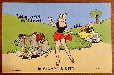 Linen Postcard Humor Risque My Ass tired Atlantic City donkey girl hitchhiker