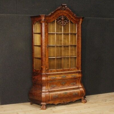 Showcase Furniture Dresser Bookcase Dutch Antique Style Wooden Double Body