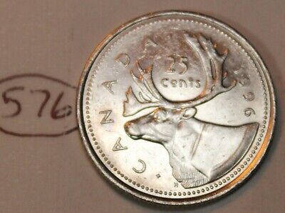 Canada 1996 25 cents Canadian Caribou Quarter Coin Lot #576