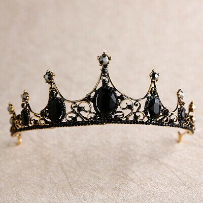 Tiara black wedding prom bridal vintage style queen alternate gothic