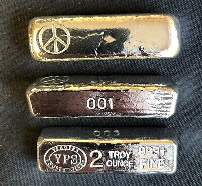 2 oz Hand Poured 999 Silver Bullion Bar by YPS - Yeagers - Peace KitKat