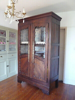 19th Century Antique French Armoire Vitrine Linen Cupboard