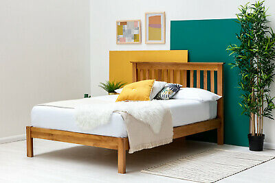 Solid Oak Wooden Bed Frame Farmhouse Style Double & King Size