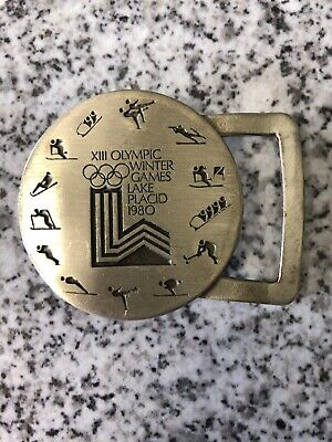 Xiii Olympic Winter Games - Lake Placid** Pewter Belt Buckle 1980