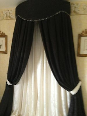 Fabulous Large Bed Canopy/Corona  Black & Cream Damask