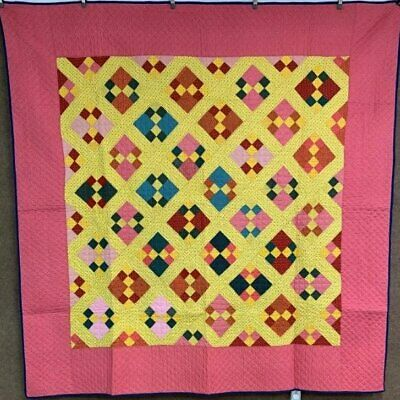 Oh The Color! PA Dutch c 1900 Double Four Patch QUILT Antique Yellow Pink Red Bl