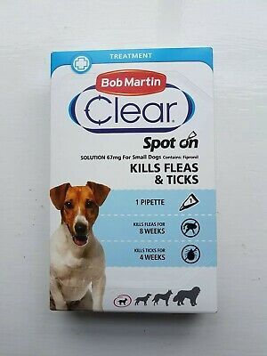 Bob Martin Clear Spot On Solution 67mg For Small Dogs Kills Fleas & Ticks 1 Dose