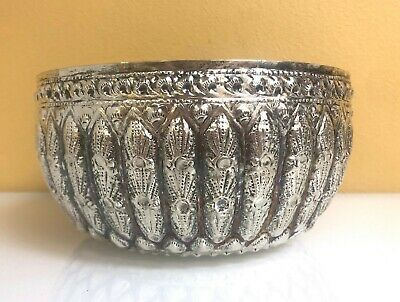 Antique Silver Asian Bowl with Intricate Design