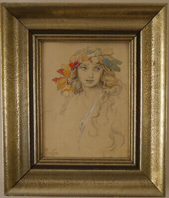 Mixed Technigue. Gouache Pencil Drawing Sign.  Mucha