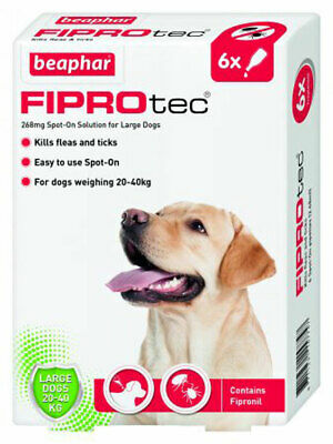 Beaphar Fiprotec Flea Tick Removal Prevention Spot On Large Dog 20kg-40kg 6 Pack