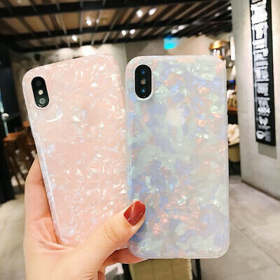 Case For iPhone 8 7 6S Plus XR XS MAX Bling Marble Shockproof Silicone Gel Cover