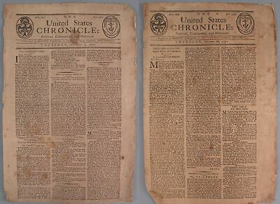18thC Antique Early American, Rhode Island, United States Chronicle Newspapers