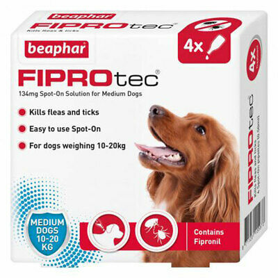 Beaphar Fiprotec Flea Tick Removal Prevent Spot On Medium Dog 10kg-20kg 4 Pack