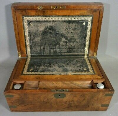 19thC Antique VICTORIAN BRASS Inlaid WRITING DESK Old TRAVELING Lap SECRETARY