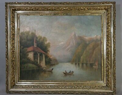 19thC Antique VICTORIAN Era HUDSON RIVER VALLEY Old PRIMITIVE Landscape PAINTING