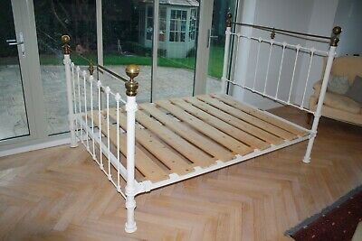 Reproduction Victorian style cast iron and brass double bed frame with slats
