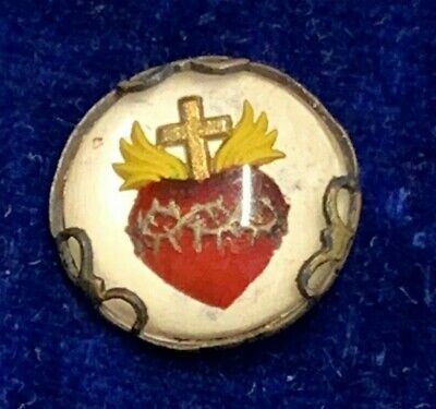 † Stunning Nun's Antique Scarce Bubble Style Colorful Sacred Heart Pin Brooch †