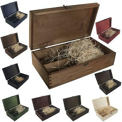 Wooden Double Bottle Box / 10 Colours / Wine Gift Holder Carrier Storage Case