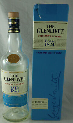 Empty Collectable Malt Whisky Bottle and Carton - The Glenlivet Founders Res.