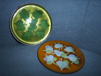 "Two 4"" Bovano MCM enameled copper coasters / trinket dishes ~~ leaf designs"