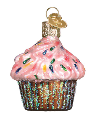 Old World Christmas Ornament ...Mini Pink Frosted Cupcake With Sprinkles