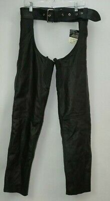 Nwt USA Bikers Dream Apparel Moto in pelle Chaps Misura Medio Nero