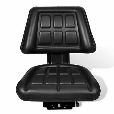 Black vidaXL Tractor Seat with Backrest Car Truck Suspension Replacement Chair