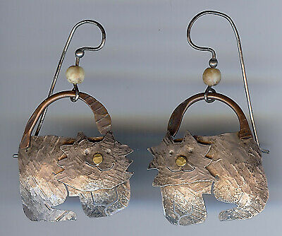 Hand Crafted Hammered Silver & Brass Adorable Cat Pierced Dangle Earrings*