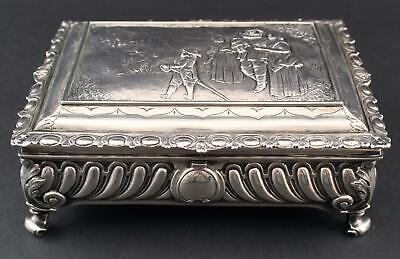 Antique Late 19thC English London Sterling Silver Dresser Box, Repousse Scene