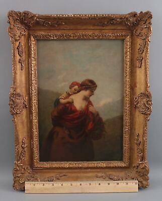 19thC Antique Signed Hill Genre Oil Painting Mother Child w/ Flowers Landscape