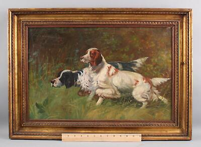 19thC Antique C. MARSHALL English Springer Spaniel Bird Hunting Dog Oil Painting